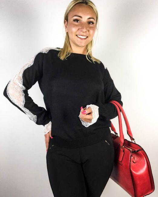 pulover negru damă tricot cu dantelă,