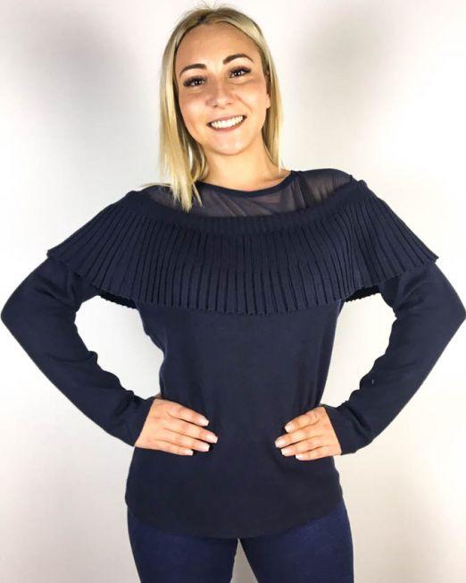 pulover damă bleumarin cu volănaș,