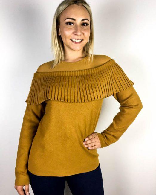 pulover damă galben muștar cu volănaș,