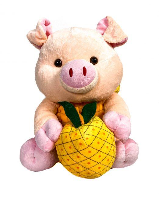jucărie din pluș purceluș roz cu ananas,