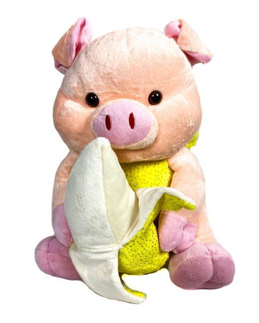 jucărie din pluș purceluș roz cu banană,