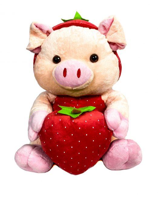 jucărie din pluș purceluș roz cu căpșună,