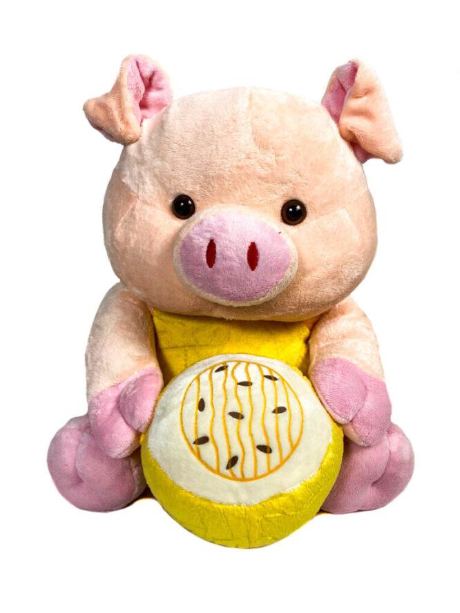 jucărie din pluș purceluș roz cu lămâie,