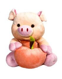 jucărie din pluș purceluș roz cu măr,