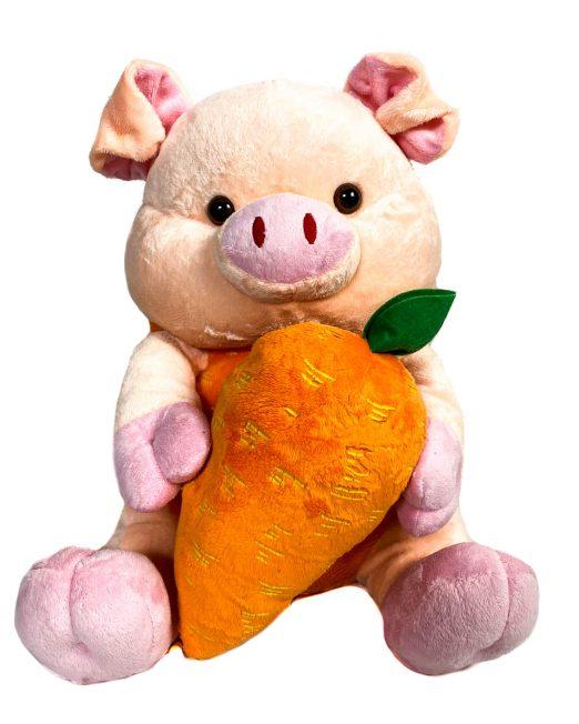 jucărie din pluș purceluș roz cu morcov,