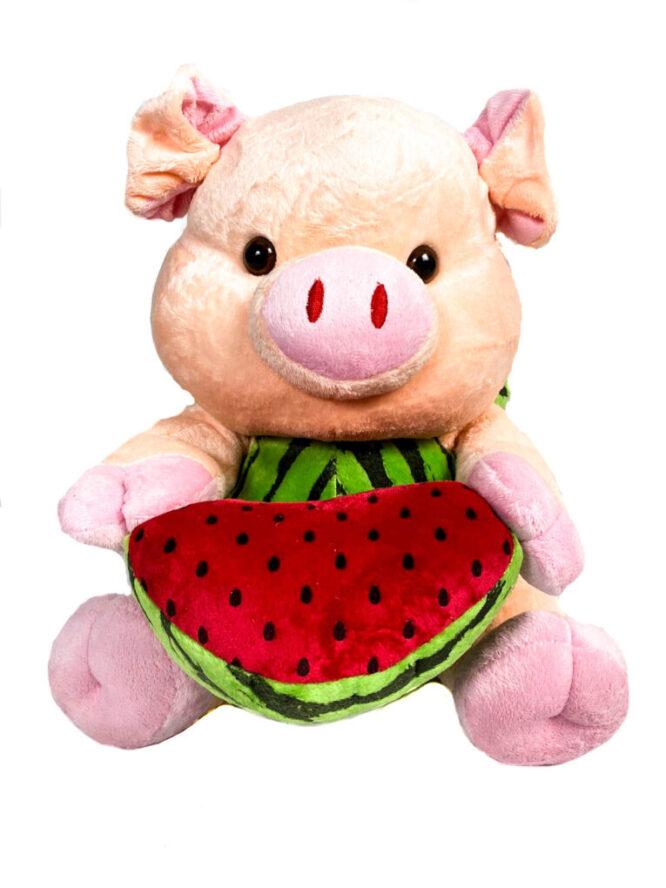 jucărie din pluș purceluș roz cu pepene,