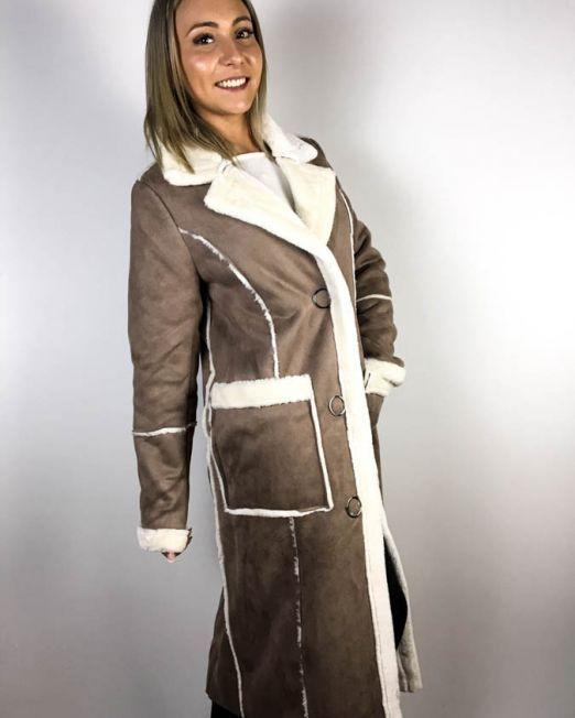 palton blană beige