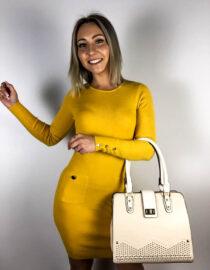 rochie mulată tricot galbenă,