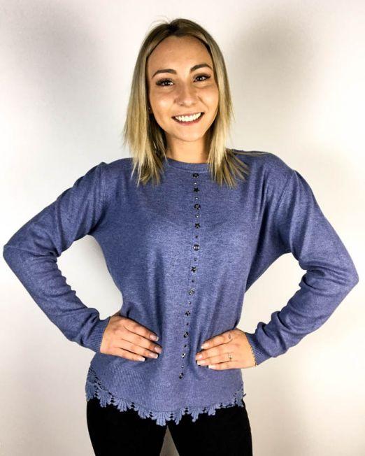 pulover albastru dantelă