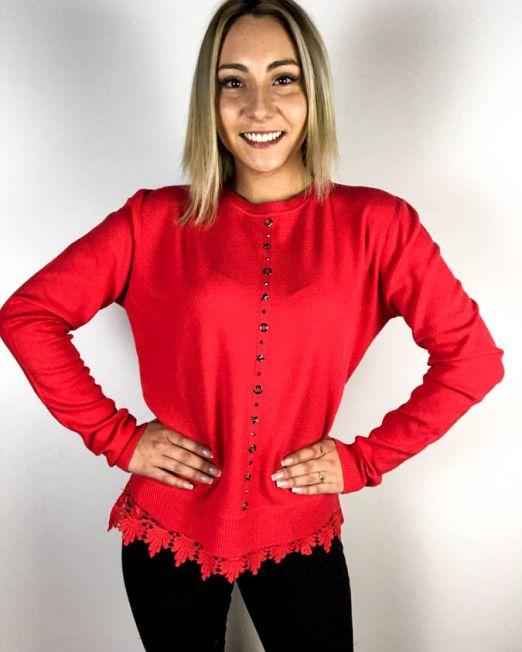 pulover roșu dantelă