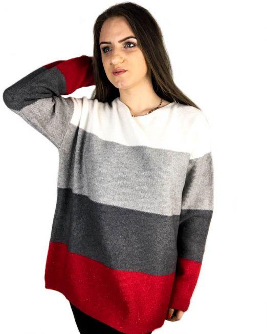 pulover la baza gâtului larg cu sclipici și cu dungi late ce combină alb roșu gri negru galben roz