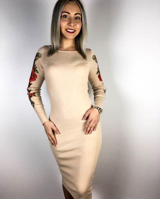 rochie beige damă tricot cu flori,
