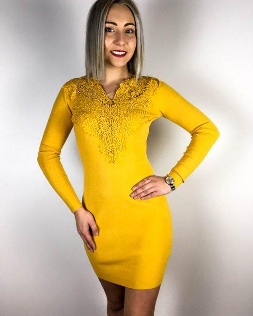 rochie tricot galbenă,