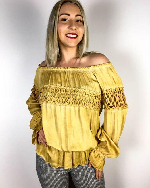 bluză galben muștar,
