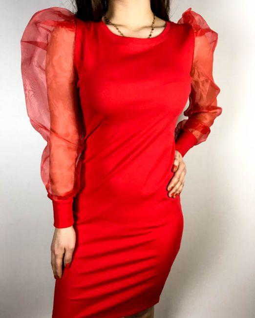 rochie voal roșie,