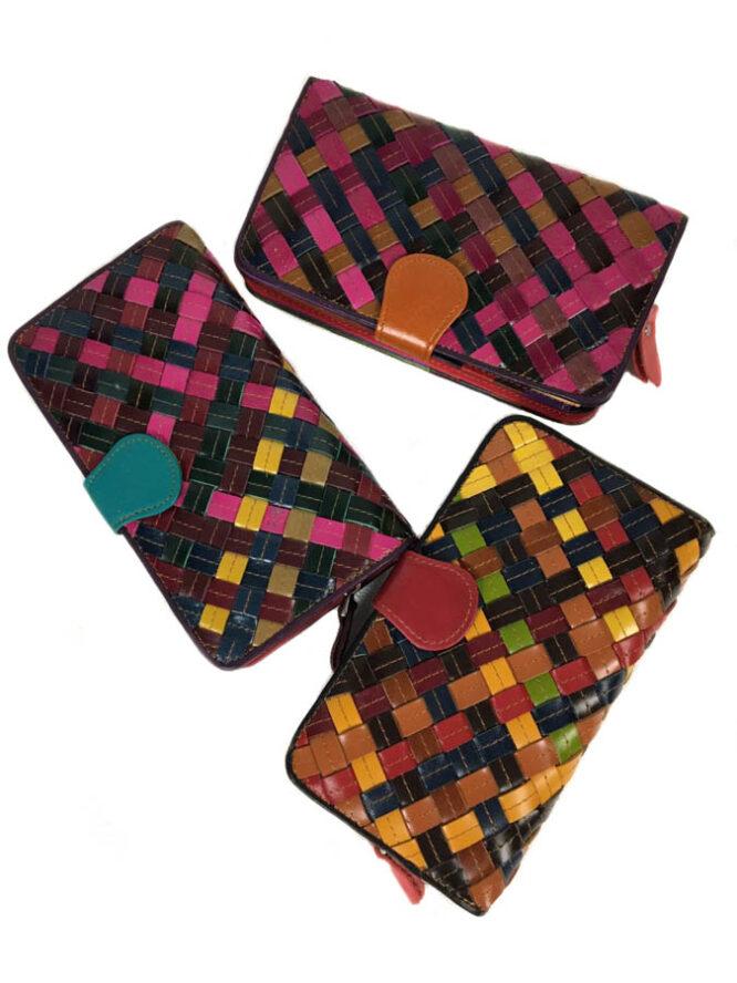 portofel din piele multicolor