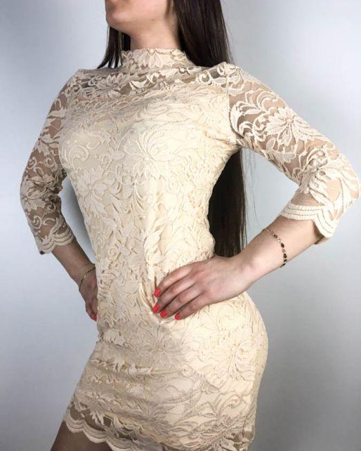 rochie dantelă beige,