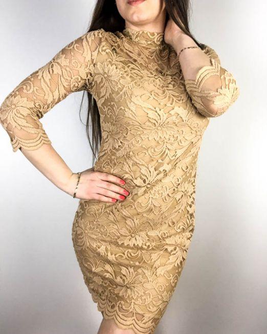 rochie dantelă maro,