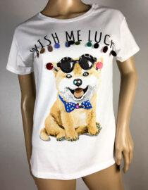 tricou alb cu câine,