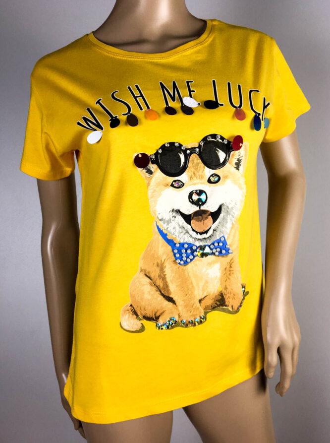 tricou galben cu câine,