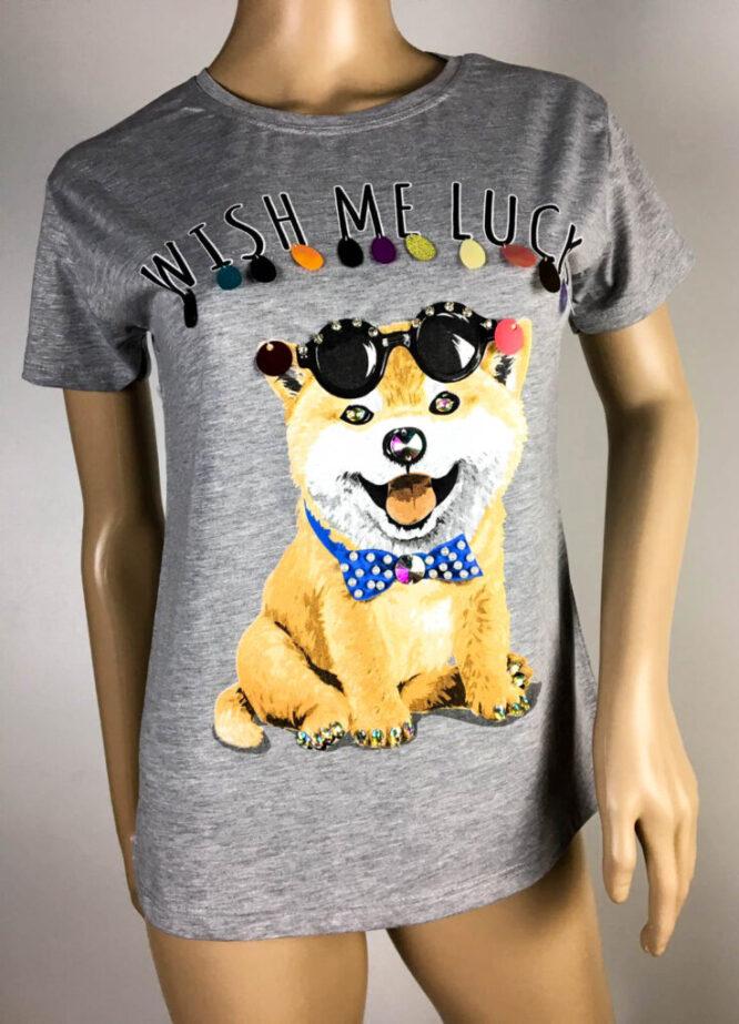 tricou gri cu câine,