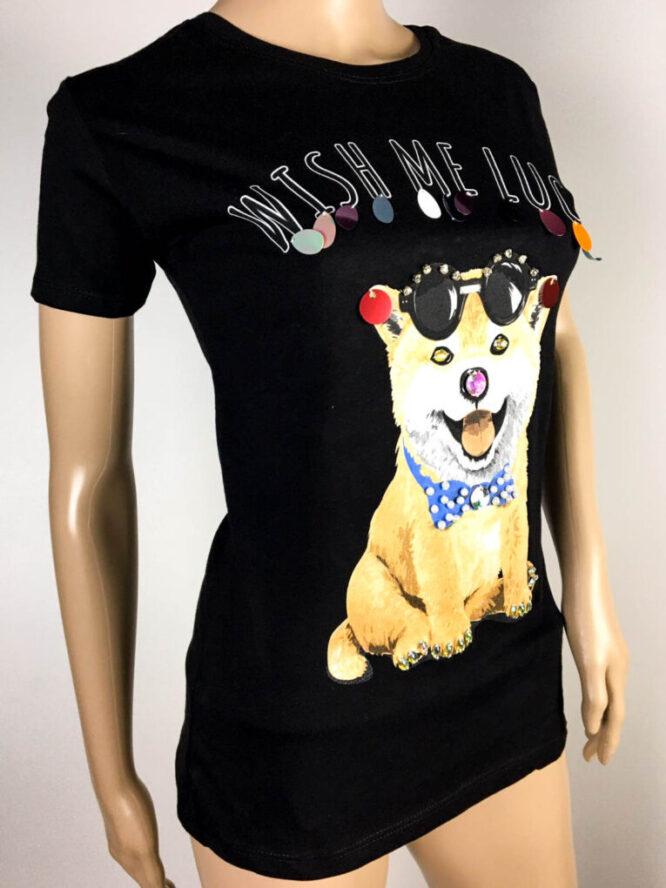 tricou negru cu câine,
