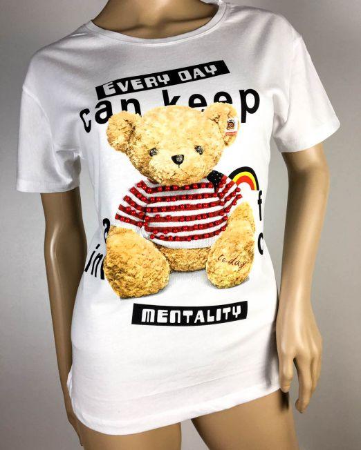 tricou damă alb cu ursuleț,