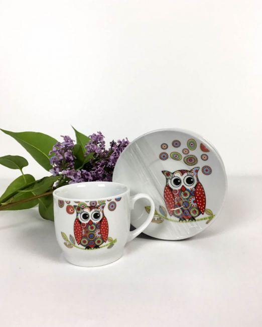 set cafea ceramic bufniță,