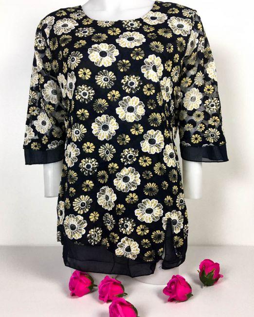 bluză bleumarin din elastan largă cu imprimeu galben muștar și aplicație din voal