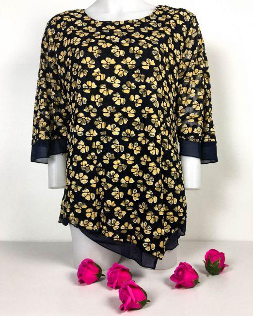 bluză bleumarin din elastan largă cu imprimeu maro și aplicație din voal