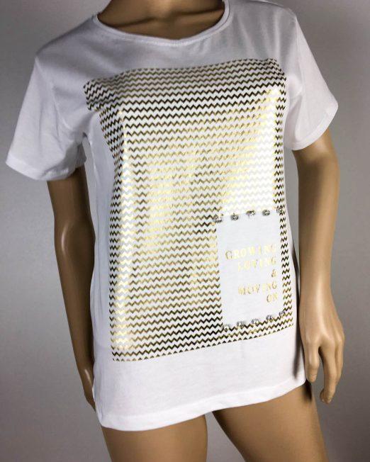 tricou de damă alb cu imprimeu auriu,