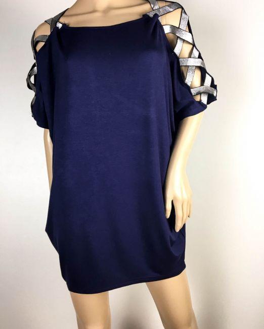 tricou tip rochie bleumarin,