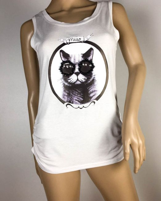 tricou maiou alb damă cu pisică,