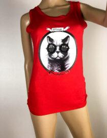 tricou maiou roșu damă cu pisică,