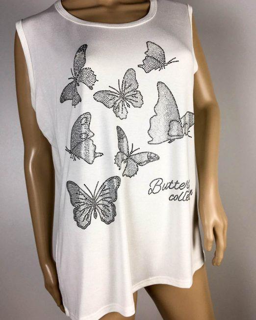 tricou damă alb cu fluturi,