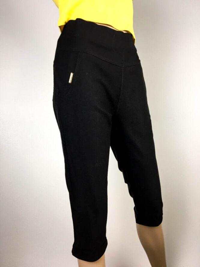 pantalon trei sferturi negru damă,