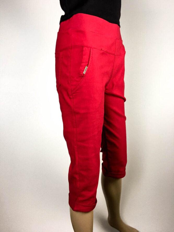 pantalon trei sferturi roșu damă,