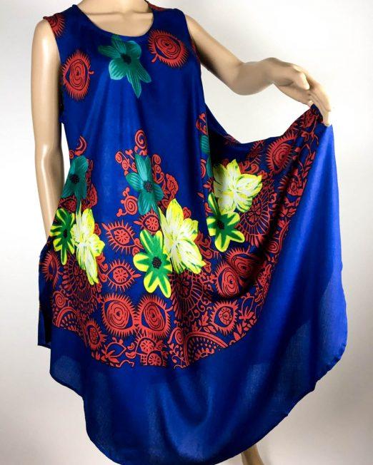 rochie damă vară albastră cu flori,