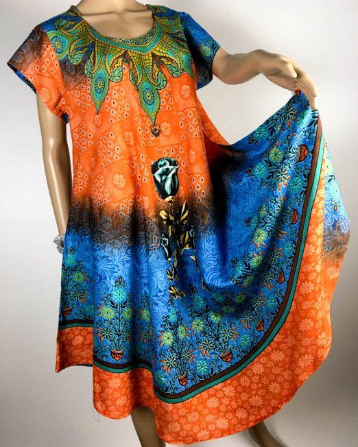 rochie damă vară orange cu flori,