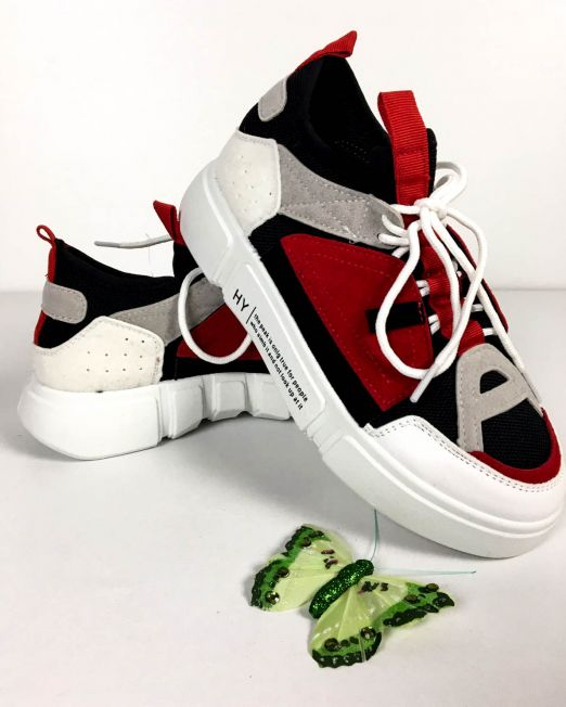 pantof sport alb cu roșu damă,