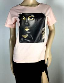 tricou roz damă vară imprimat,