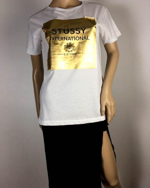 tricou alb damă cu imprimeu auriu,