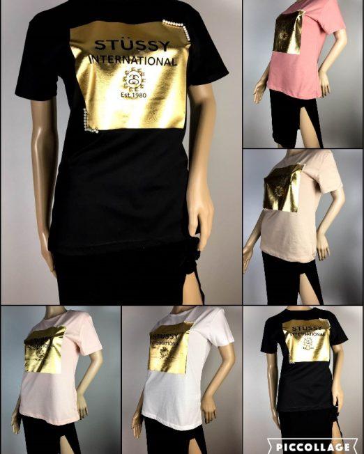 tricou damă cu imprimeu auriu,