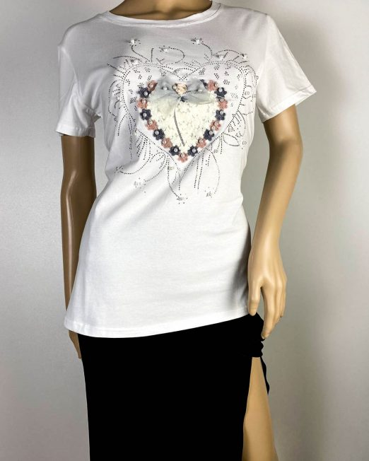 tricou alb damă vară cu inimă,