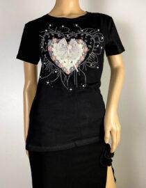 tricou negru damă vară cu inimă,