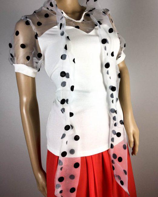 tricou alb damă vară cu voal și fundiță,