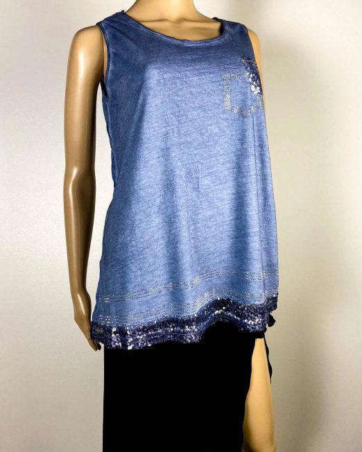 tricou tip maiou albastru damă,