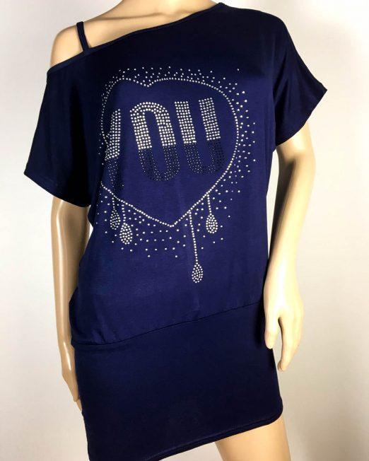 tricou tip rochie bleumarin damă vară,