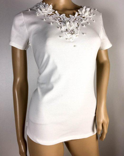 tricou alb damă vară cu dantelă,