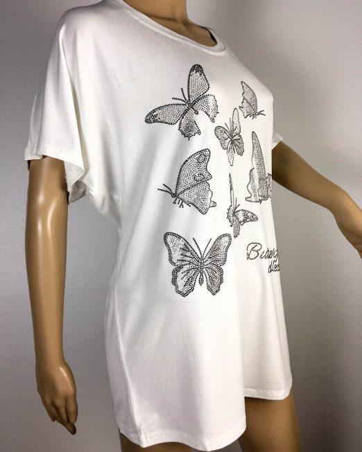 tricou alb damă vară cu fluturi,